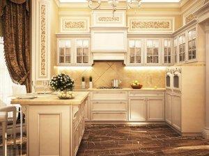 欧式宫廷风厨房整体定制橱柜装修效果图    实木橱柜效果图