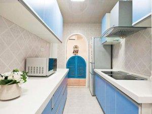 蓝色地中海风格橱柜图片   实木烤漆橱柜图片