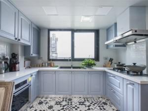地中海风格厨房蓝色整体橱柜家装效果图   U型实木橱柜图片