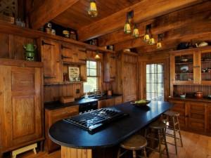 美式乡村风格厨房实木橱柜装修效果图   深棕色定制橱柜图片