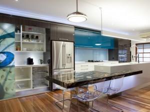 大户型开放式厨房整体定制烤漆橱柜效果图  蓝色橱柜图片