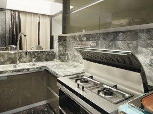 现代风格灰绿色烤漆橱柜效果图