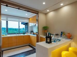 现代时尚风格橙色不锈钢烤漆橱柜装修效果图  不锈钢橱柜图片