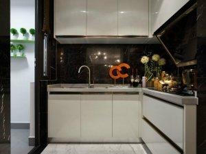 小厨房装修烤漆橱柜图片  白色烤漆橱柜图片