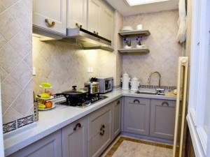 小厨房装修效果图 灰色木质橱柜图片