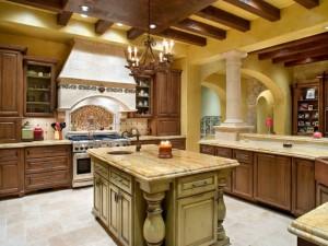 美式风格大户型厨房装修效果图 实木岛型橱柜图片