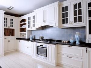 欧式风格厨房装修效果图 白色橱柜设计图片