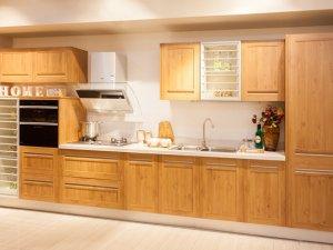简约原木色厨房橱柜设计效果图 一字型橱柜图片