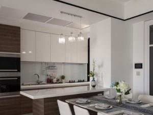 新古典开放式厨房木质橱柜效果图 烤漆墙柜设计图片