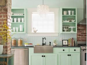 小清新风格厨房装修效果图 薄荷绿色定制橱柜图片