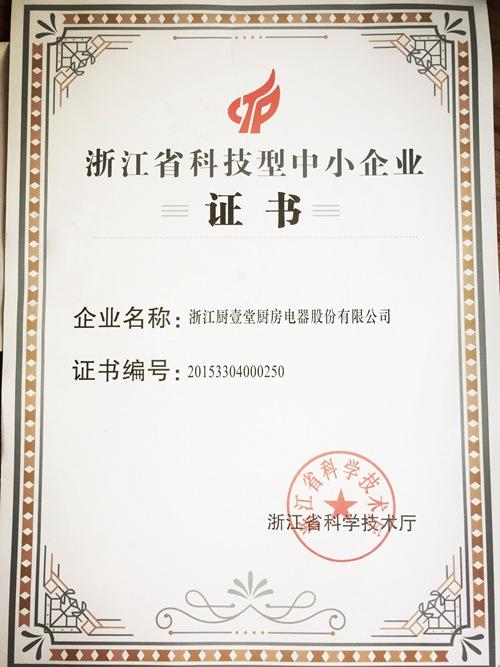 浙江省中小型企业证书