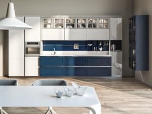 蓝白双色橱柜装修效果图 新古典风橱柜图片