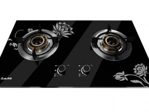 贵度厨房电器  黑色玻璃燃气灶效果图