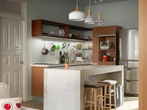 小户型开放式厨房装修效果图 原木色厨房装修效果图