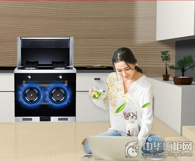 帅沃集成灶自动清洗下排式抽油烟机燃气灶具消毒柜套装一体环保灶