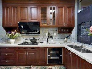 欧式新古典风厨房装修效果图 古典实木橱柜设计图大全