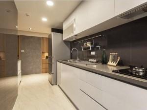 新实用主义家装厨房设计效果图 白色烤漆橱柜图片