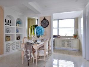 欧式田园风格厨房装修效果图 开放式厨房橱柜设计图