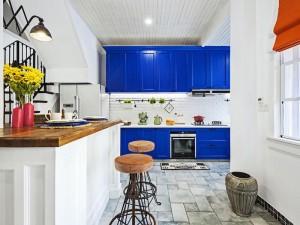地中海风格家装厨房效果图 蓝色整体橱柜设计图大全