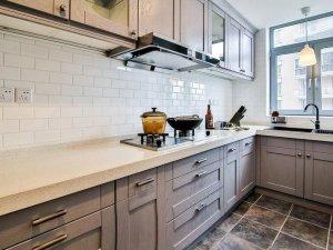 法式风情家装整体效果图 灰色系厨房橱柜效果图
