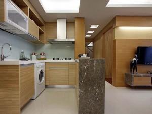 开放式小厨房装修效果图 原木色橱柜装修效果图