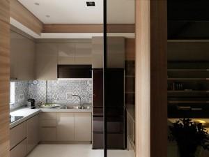 香槟色橱柜装修效果图 小户型厨房效果图