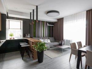 小户型开放式厨房效果图 黑色橱柜设计图片