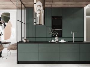 时尚开放式厨房装修效果图 一字型墨绿色橱柜效果图