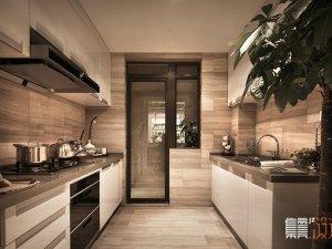 现代简约厨房装修效果图 二字型白色烤漆橱柜图片
