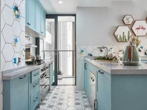 北欧风开放式厨房图片 二字型蓝色橱柜装修效果图