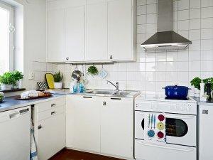 小户型厨房装修效果图 白色烤漆橱柜图片