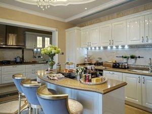 别墅开放式厨房装修效果图 橱柜效果图