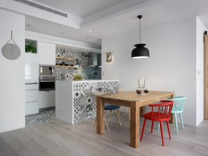 现代开放式厨房装修效果图 橱柜效果图