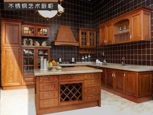 不锈钢厨房橱柜图片 纯实木橱柜门效果图