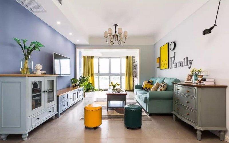 美式整体橱柜效果图 蓝色橱柜图片