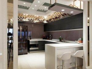 开放式厨房装修效果图 黑色橱柜图片