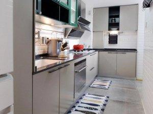 小厨房装修效果图 灰色橱柜效果图
