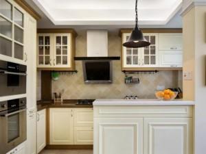 开放式厨房装修效果图 白色橱柜效果图