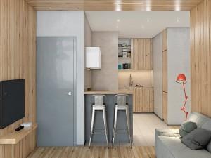 半开放式厨房橱柜效果图 原木色橱柜图片