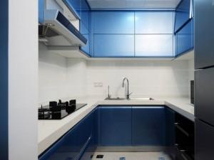 蓝色厨房橱柜效果图 U型橱柜图片