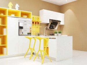 佰怡家橱柜效果图 现代风柠檬黄整体橱柜图片