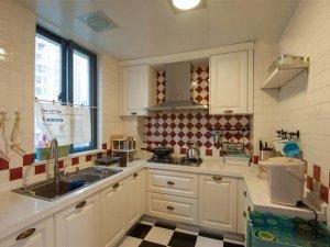 田园风厨房橱柜效果图 白色橱柜图片