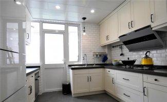 简美风厨房装修效果图 白色橱柜图片