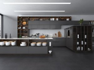 韩丽整体橱柜效果图 灰色厨柜装修效果图