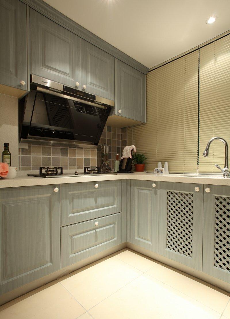蓝色橱柜设计图 简欧厨房装修效果图
