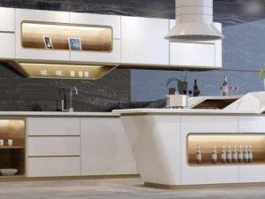 万格丽不锈钢厨柜图片 白色岛台橱柜效果图