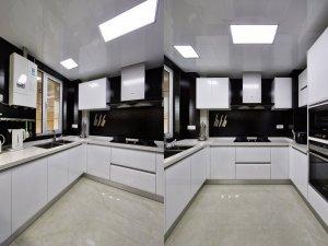 U型整体橱柜效果图 现代风厨房装修效果图