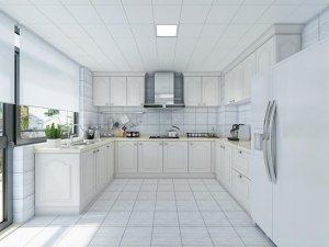田园风厨房装修效果图 白色U型橱柜图片大全