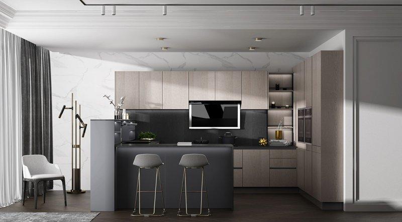 金牌厨柜效果图 简约风橱柜设计效果图 维也纳2系列