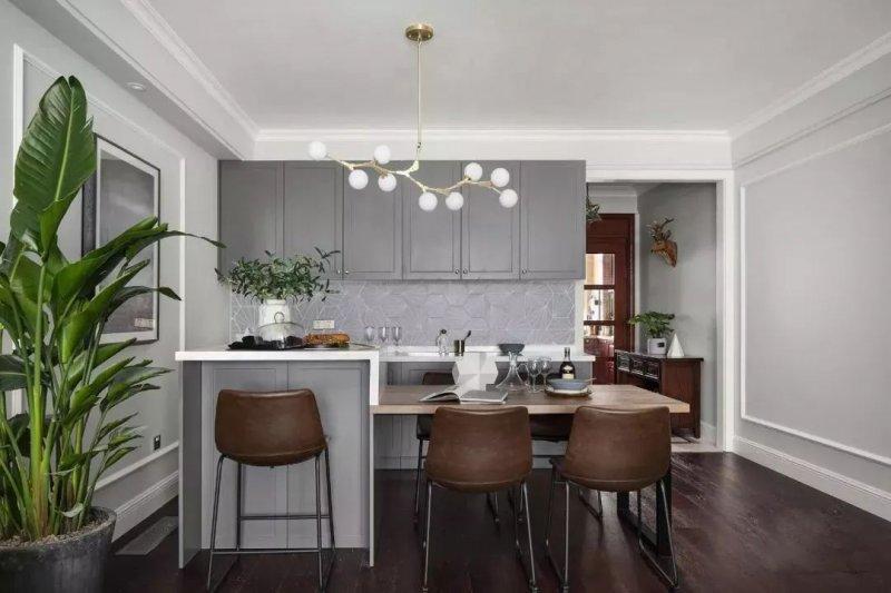 開放式廚房裝修效果圖 美式灰色櫥柜效果圖